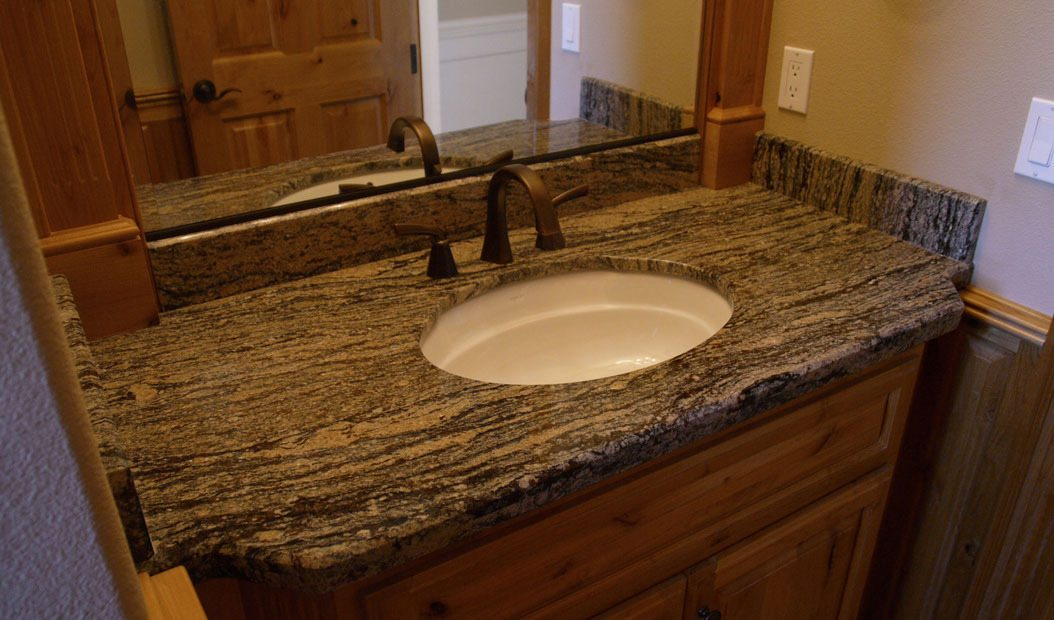 black and brown bathroom counter