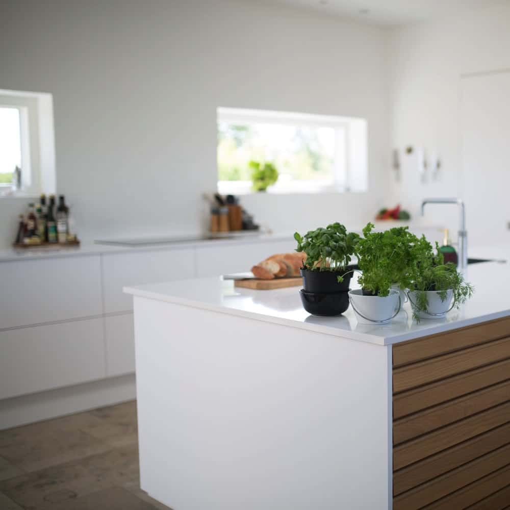 white kitchen island and counters
