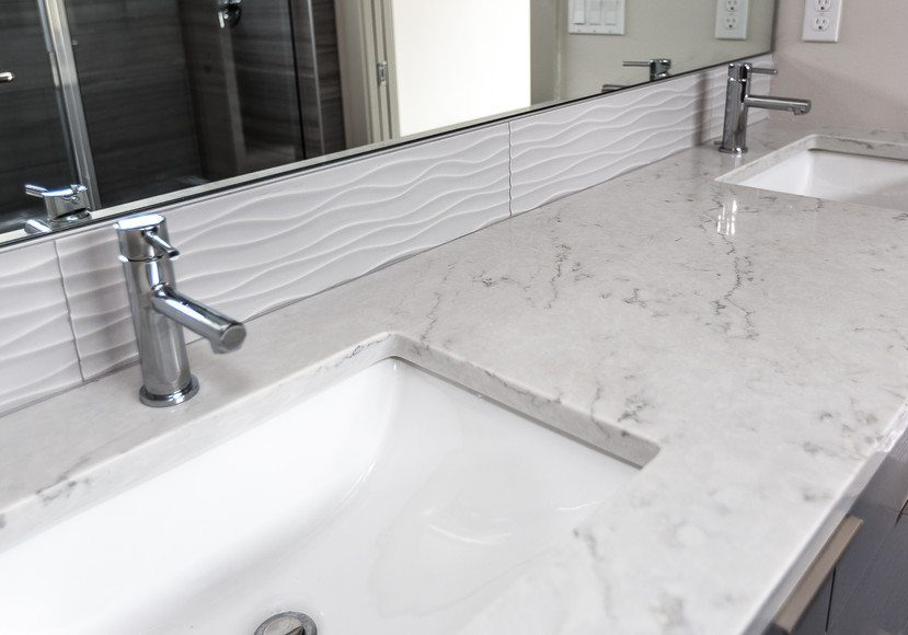 off white quartz bathroom counter