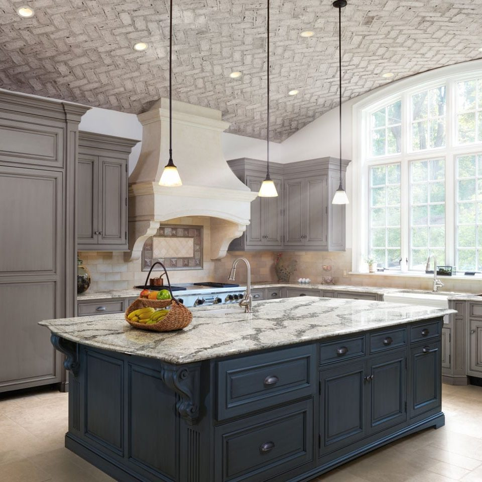 kitchen island in showroom